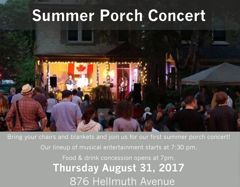 COMING SOON - Porch Conert  - August 31